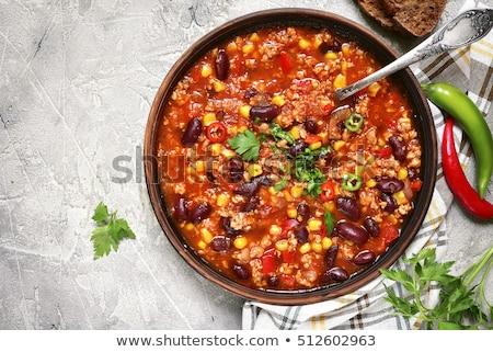 çanak çili ahşap masa gıda siyah sebze Stok fotoğraf © Alex9500
