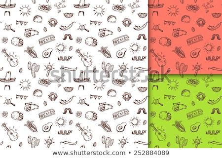 Cartoon mexican food doodles seamless pattern Stock photo © balabolka