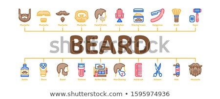 Beard And Mustache Minimal Infographic Banner Vector Stock photo © pikepicture