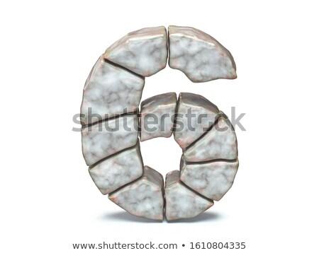 Rock masonry font Number 6 SIX 3D Stock photo © djmilic
