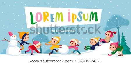 Kinder spielen Schneeball Kampf Winter Park Vektor Stock foto © robuart