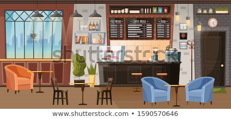 Coffeehouse Interior, Barista Stance with Menu Stock photo © robuart