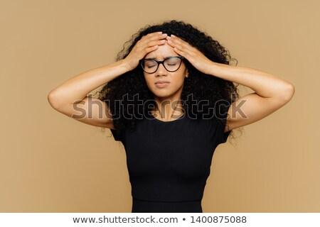 Imagem bela mulher indisposto testa dor de cabeça olhos Foto stock © vkstudio