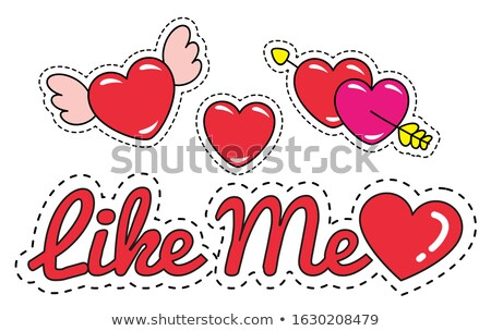 Like Me Patches and Stickers Hearts Inscription Stock photo © robuart