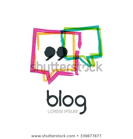 Grunge kézzel rajzolt szövegbuborék keret blog ikon Stock fotó © kyryloff