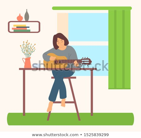 Girl Playing Guitar in Room, Hobby and Home Vector Stock photo © robuart