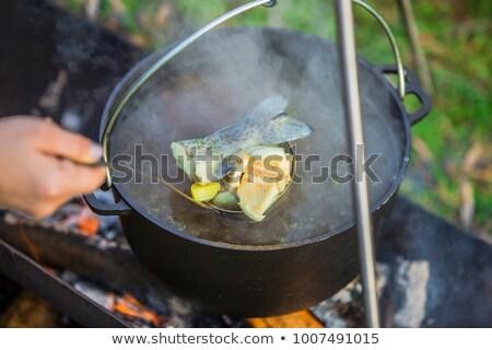 Toerisme pot soep brand traditioneel koken Stockfoto © antkevyv