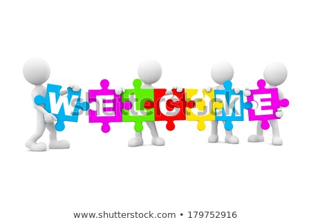 3d man with welcome text stock photo © nasirkhan