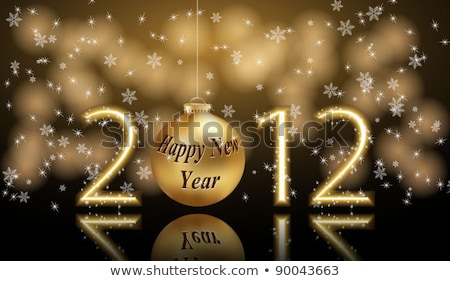2012 new year greeting card with golden balls & shiny stars in r Stock photo © aispl