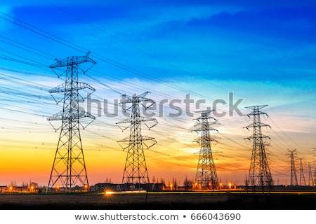 высокое напряжение проводов Blue Sky небе металл сеть Сток-фото © deyangeorgiev