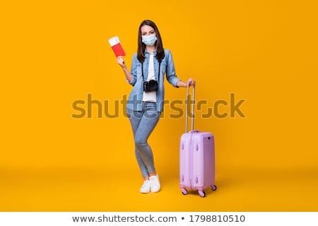 Dziennikarz lotniska kobieta telewizji szczęśliwy krajobraz Zdjęcia stock © photography33
