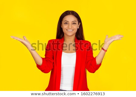 mujer · senalando · manos · sonriendo · jóvenes · marco - foto stock © get4net
