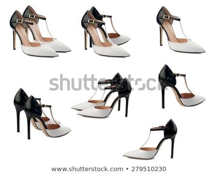 черно белые Lady элегантность обувь кожа ногу Сток-фото © goce
