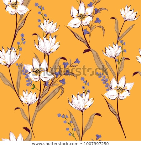 Seamless pattern of orange flowers and leaf Stock photo © boroda