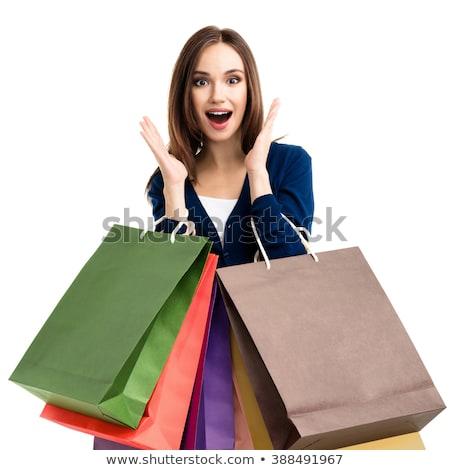 feliz · mulher · compras · belo · mulher · jovem · fora - foto stock © sumners