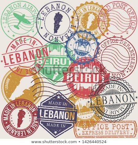 Posta Lübnan görüntü damga harita bayrak Stok fotoğraf © perysty