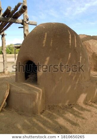 Történelmi épület hagyományos Új-Mexikó falak sár Stock fotó © searagen