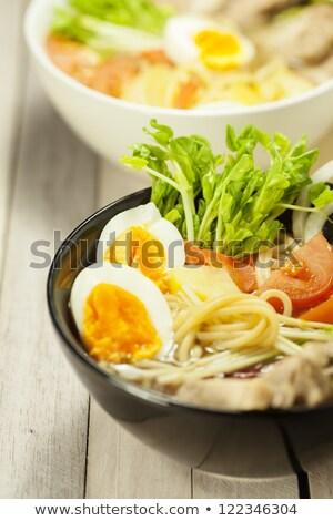zuppa · ciotola · japanese · cucchiaio · rosso - foto d'archivio © moses