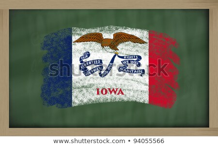 Flag Of Us State Of Iowa On Blackboard Painted With Chalk Foto stock © vepar5