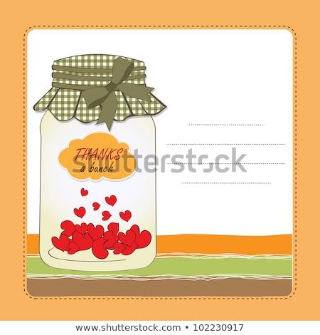 Teşekkür ederim tebrik kartı kalpler kavanoz gülümseme sevmek Stok fotoğraf © balasoiu