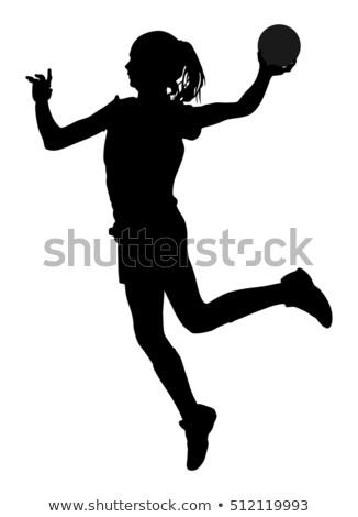ストックフォト: ハンドボール · 少女 · 女性 · プレーヤー · ボール · 女性