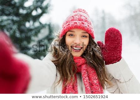Havazik lány lovaglás szánkó tél sebesség Stock fotó © jarp17
