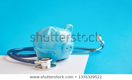 Piggy bank estetoscópio médico financiar cuidar vertical Foto stock © 4designersart
