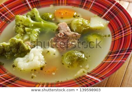 Italian Farm Style Soup With Broccoli Stok fotoğraf © Fanfo