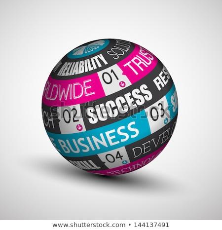 succès · affaires · 3D · sphère · un · message · infographie - photo stock © davidarts