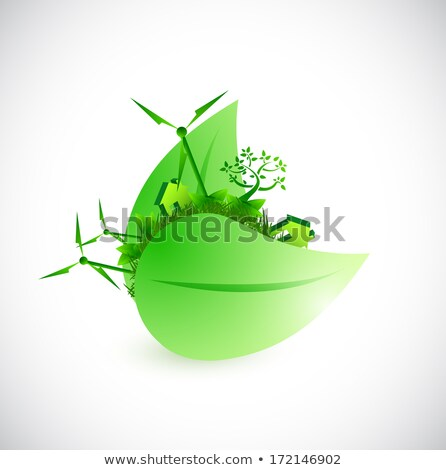 Wind Energy Illustration Concept Design Over White Photo stock © alexmillos