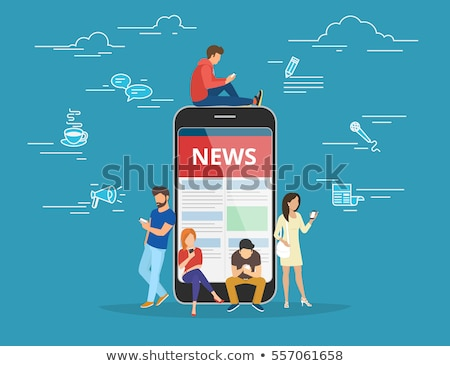 online news on blue in flat design stock photo © tashatuvango