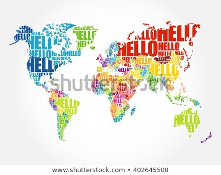 Stockfoto: Typografisch · hallo · wereldkaart · vector · wereld