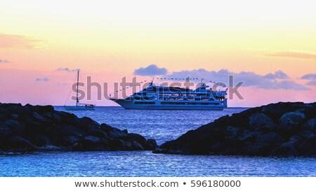 Pôr do sol cruzeiro Havaí navio de cruzeiro horizonte sol Foto stock © backyardproductions