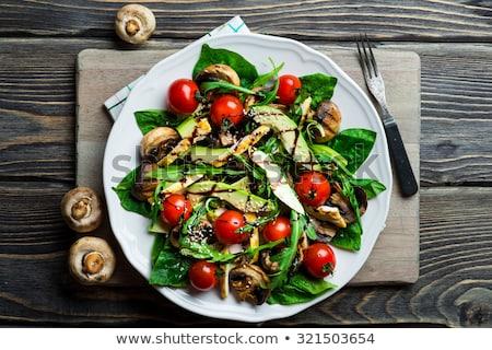 grzyby · Sałatka · żywności · liści · widelec · jedzenie - zdjęcia stock © yelenayemchuk