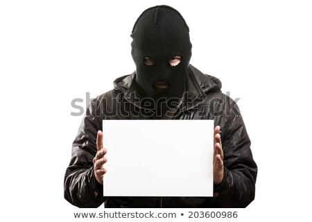 Verbrecher Mann Maske Gesicht halten Hand Stock foto © ia_64