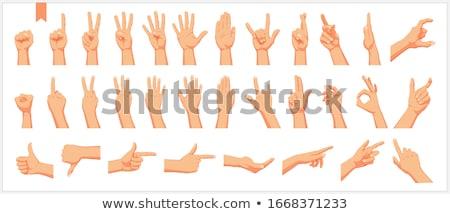 Kéz kő zsemle felirat izolált fehér Stock fotó © bloodua