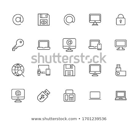 шпиона ноутбука икона белый дизайна технологий Сток-фото © tkacchuk
