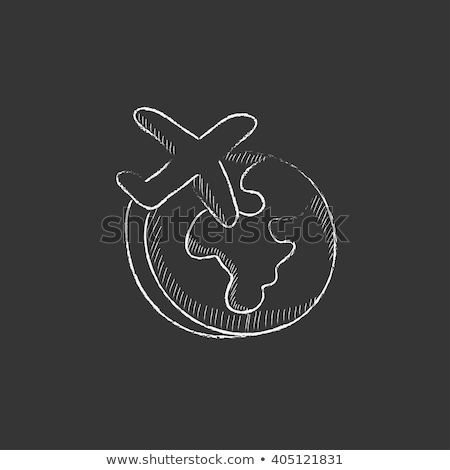 flying airplane icon drawn in chalk stock photo © rastudio