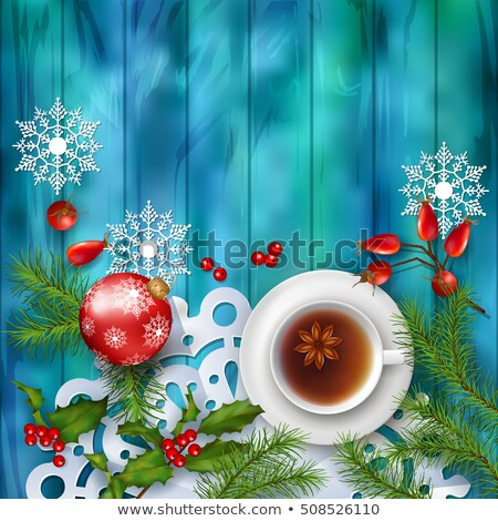 Taza té Navidad rústico atención selectiva imagen Foto stock © zoryanchik