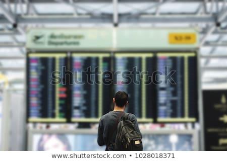 Adam bakıyor kalkış tahta havaalanı vektör Stok fotoğraf © RAStudio