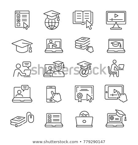 online · onderwijs · lijn · icon · wereldbol · pijl - stockfoto © RAStudio