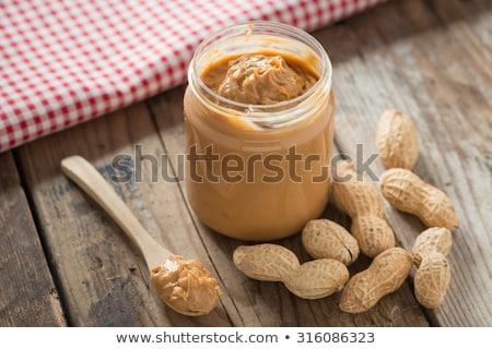 Mogyoróvaj édes étel finom pirítós banán üveg Stock fotó © racoolstudio