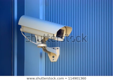 three security cameras on blue wall stock photo © smuki
