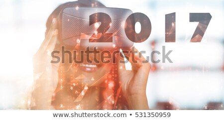 Vrouw virtueel realiteit hoofdtelefoon aantal Stockfoto © stevanovicigor