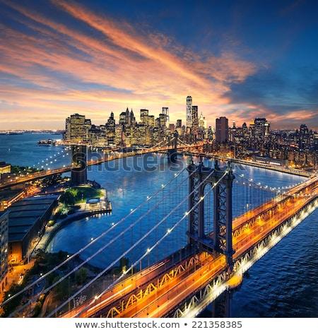 Nuit vue Manhattan pont ciel eau Photo stock © Elnur