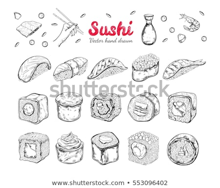 Japanese Food - color hand drawn card. Stock photo © Decorwithme