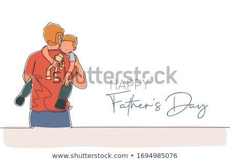 Vector illustration of happy father caring his kid Stock photo © curiosity