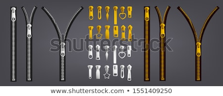 Closed Gold Metal Zipper Pull Tab Isolated Stock photo © Qingwa