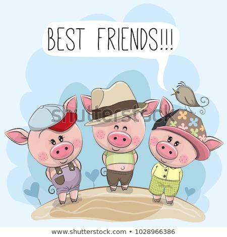 Pink piggy young cartoon animal vector Stock photo © LoopAll