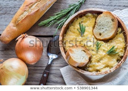 onion soup with cheesy bread Stock photo © M-studio